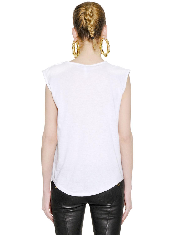 Lyst balmain logo printed cotton tshirt in white for Balmain white logo t shirt
