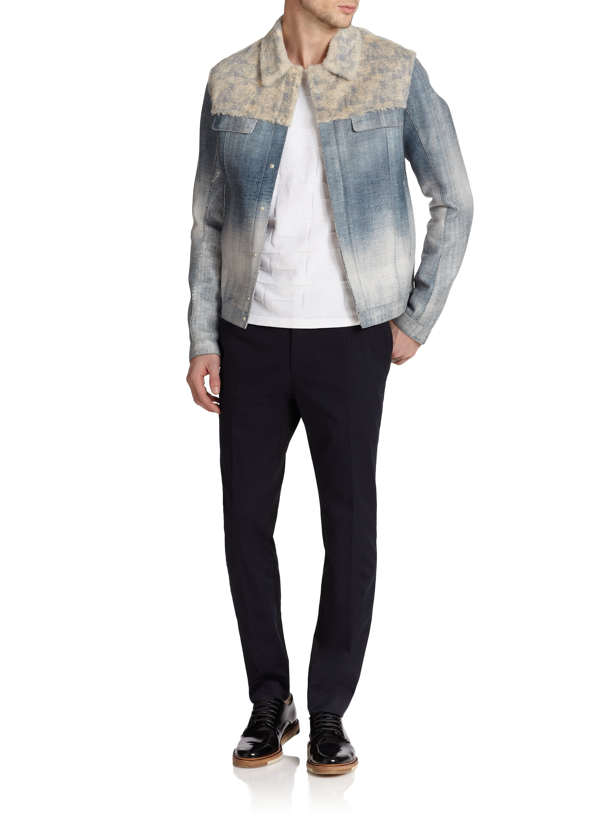 Fendi Rabbit Fur  Denim-Print Leather Jacket In Blue For