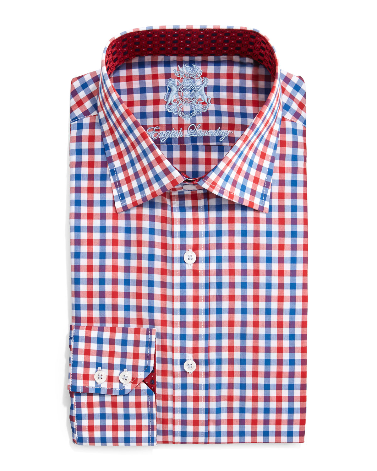 english laundry gingham check dress shirt in red for men