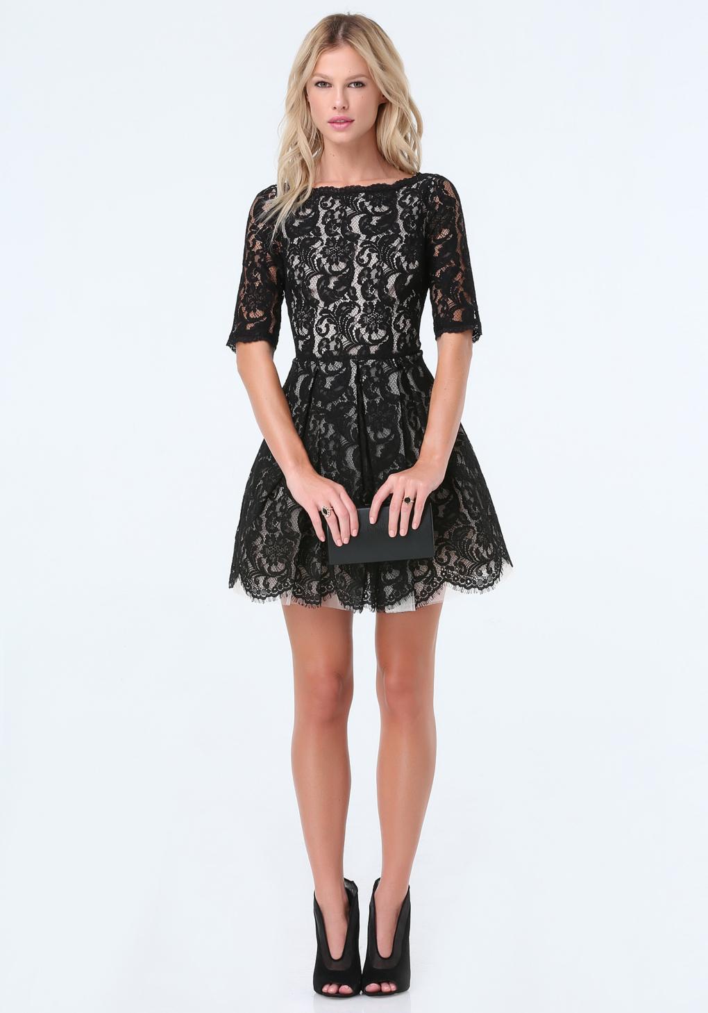 715def16fbde Lyst - Bebe Lace Fit   Flare Dress in Black