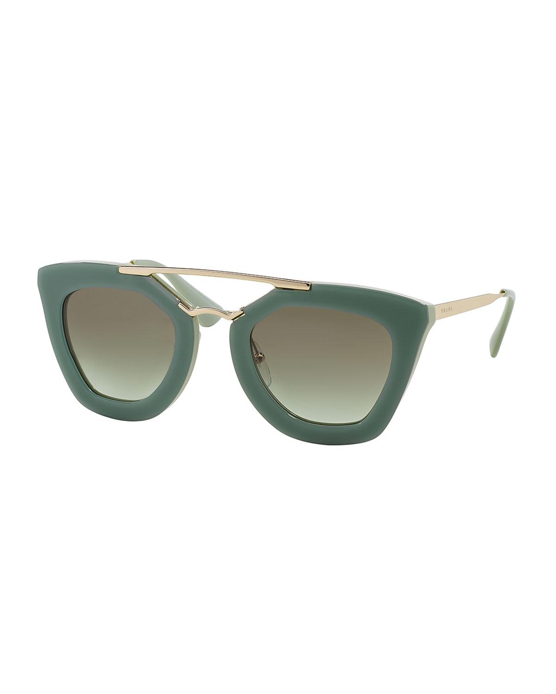 6a42bdca9064 Lyst - Prada Acetate Metal Cat-Eye Sunglasses in Green