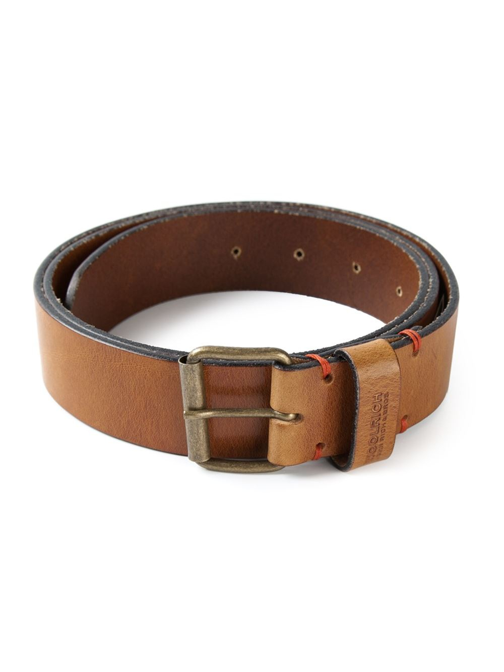 woolrich distressed leather belt in brown for lyst