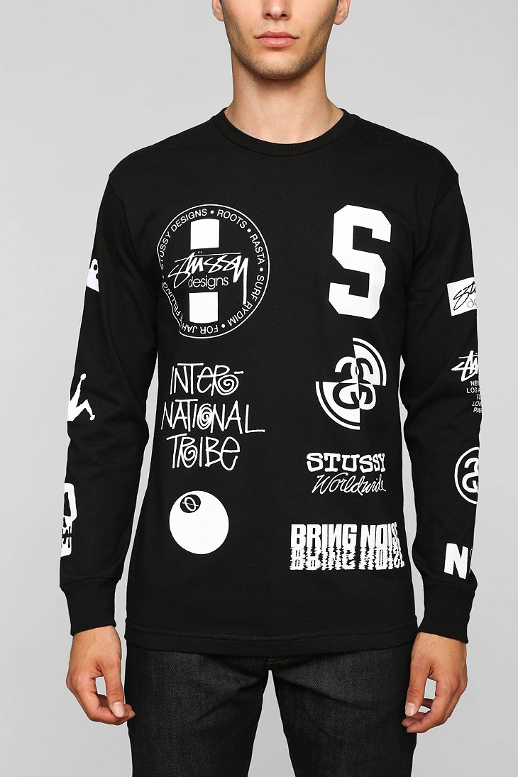 58c36c47715 Lyst - Stussy Dot Collage Long-Sleeve Tee in Black for Men
