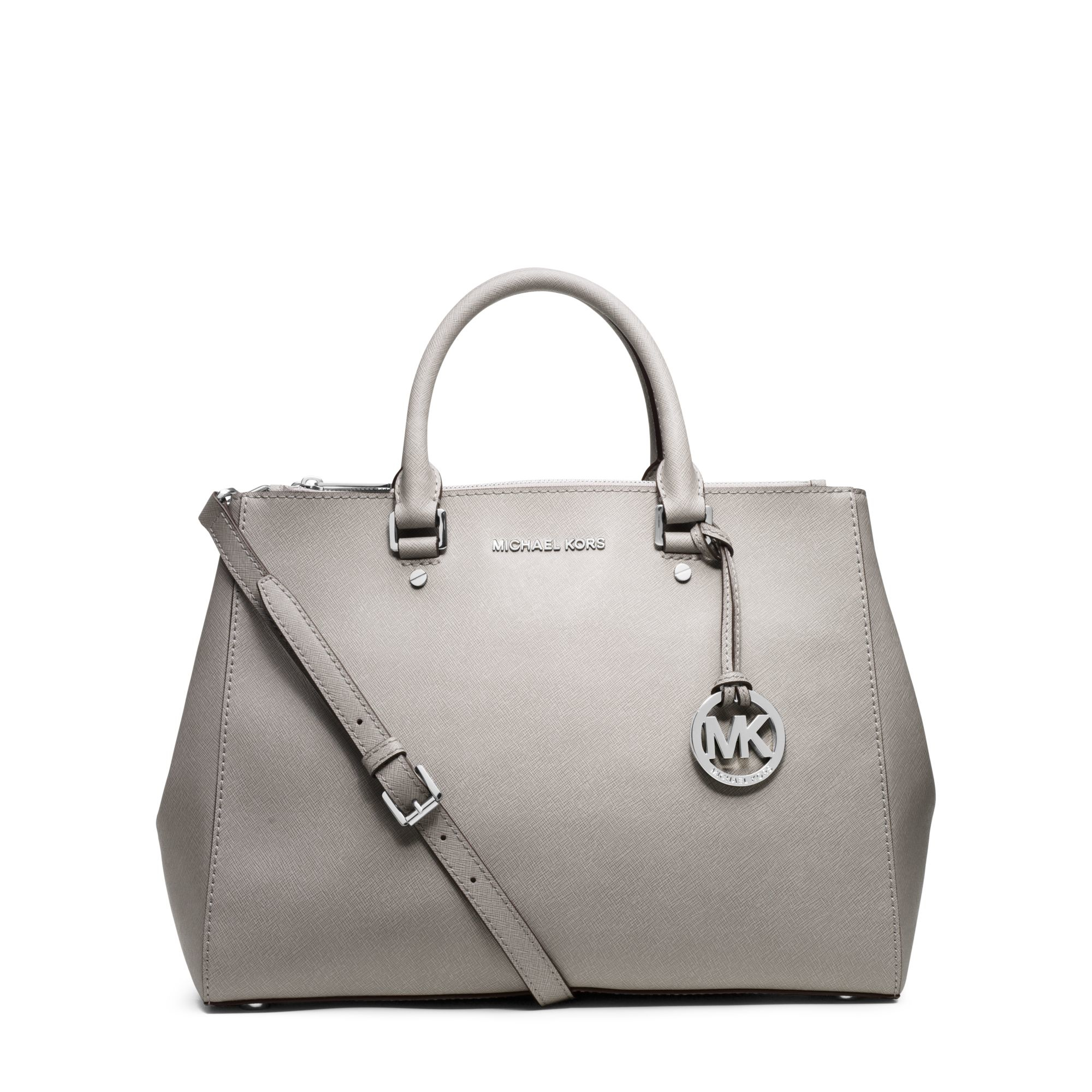 f9749f6c0f2a Lyst - Michael Kors Sutton Saffiano-Leather Satchel in White
