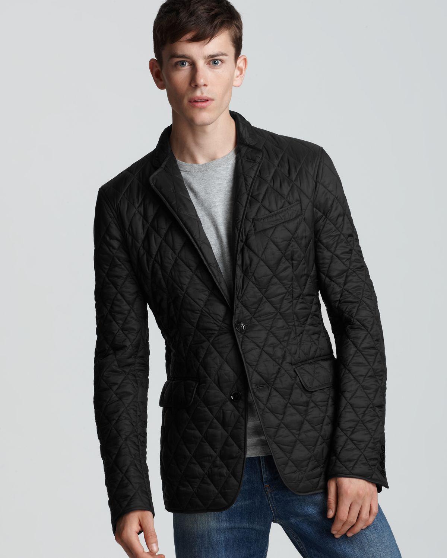 Burberry London Ledburry Quilted Sport Coat in Black for Men | Lyst