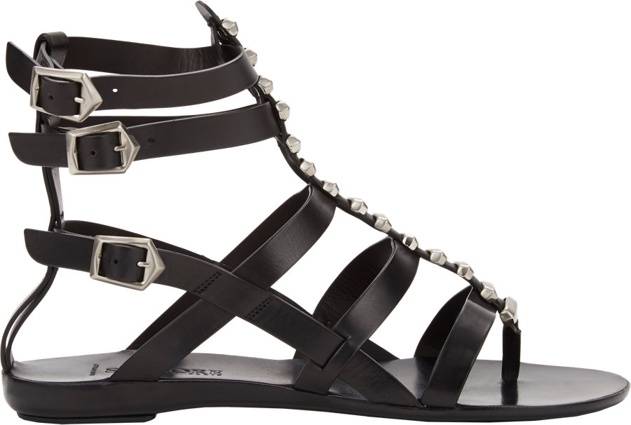 d0622bfc6c7 Lyst - Sartore Studded Flat Gladiator Sandals in Black