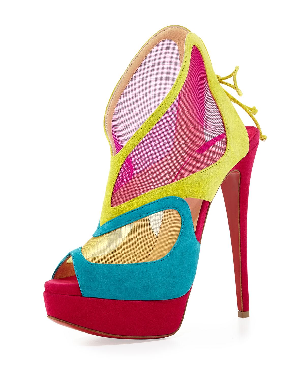 christian louboutin tennis shoes men - Christian louboutin Farfamesh Suede Red Sole Platform Bootie Multi ...