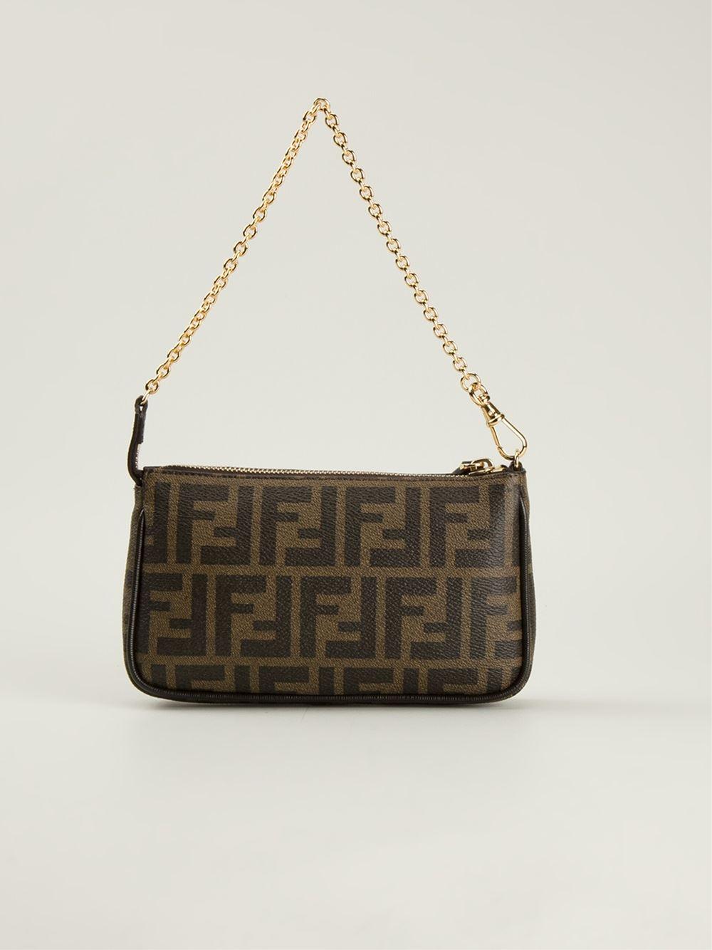 fendi signature monogram shoulder bag in brown