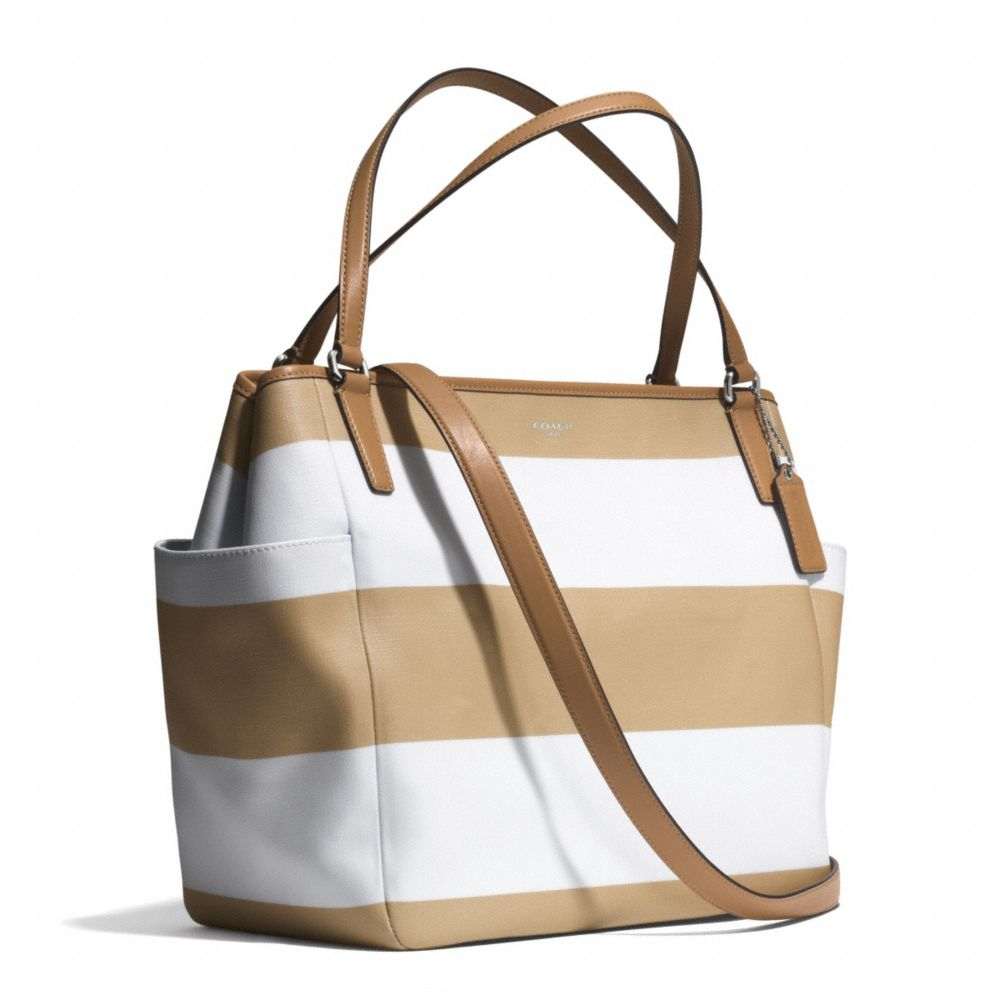 e5dd0bcee059 ... low price lyst coach striped coated canvas tote in brown b221a f0d07
