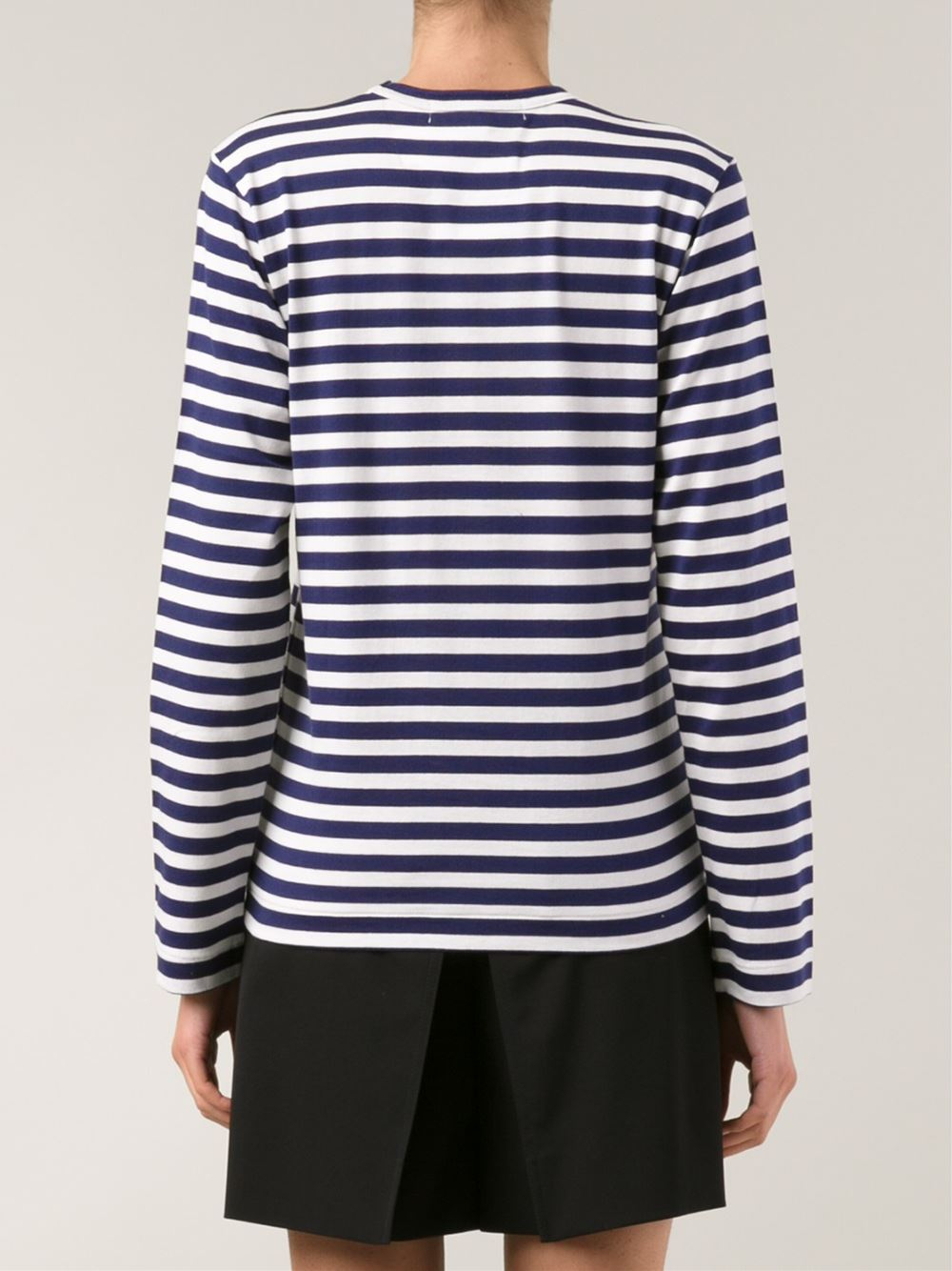 Comme des gar ons long sleeved mini heart striped t shirt for Blue and white striped long sleeve t shirt
