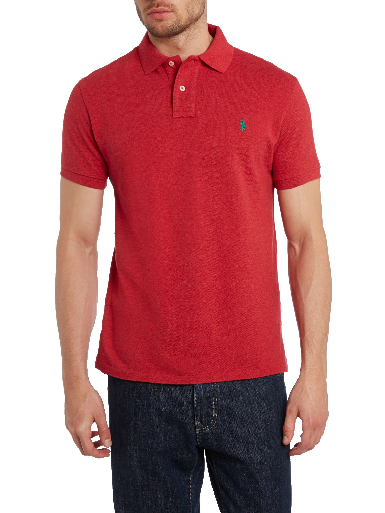 Lyst polo ralph lauren custom fit short sleeve mesh polo for Big and tall custom polo shirts