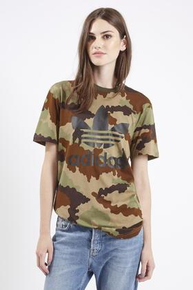 f61915442474 TOPSHOP Camo Trefoil Tee By Adidas Originals in Brown - Lyst
