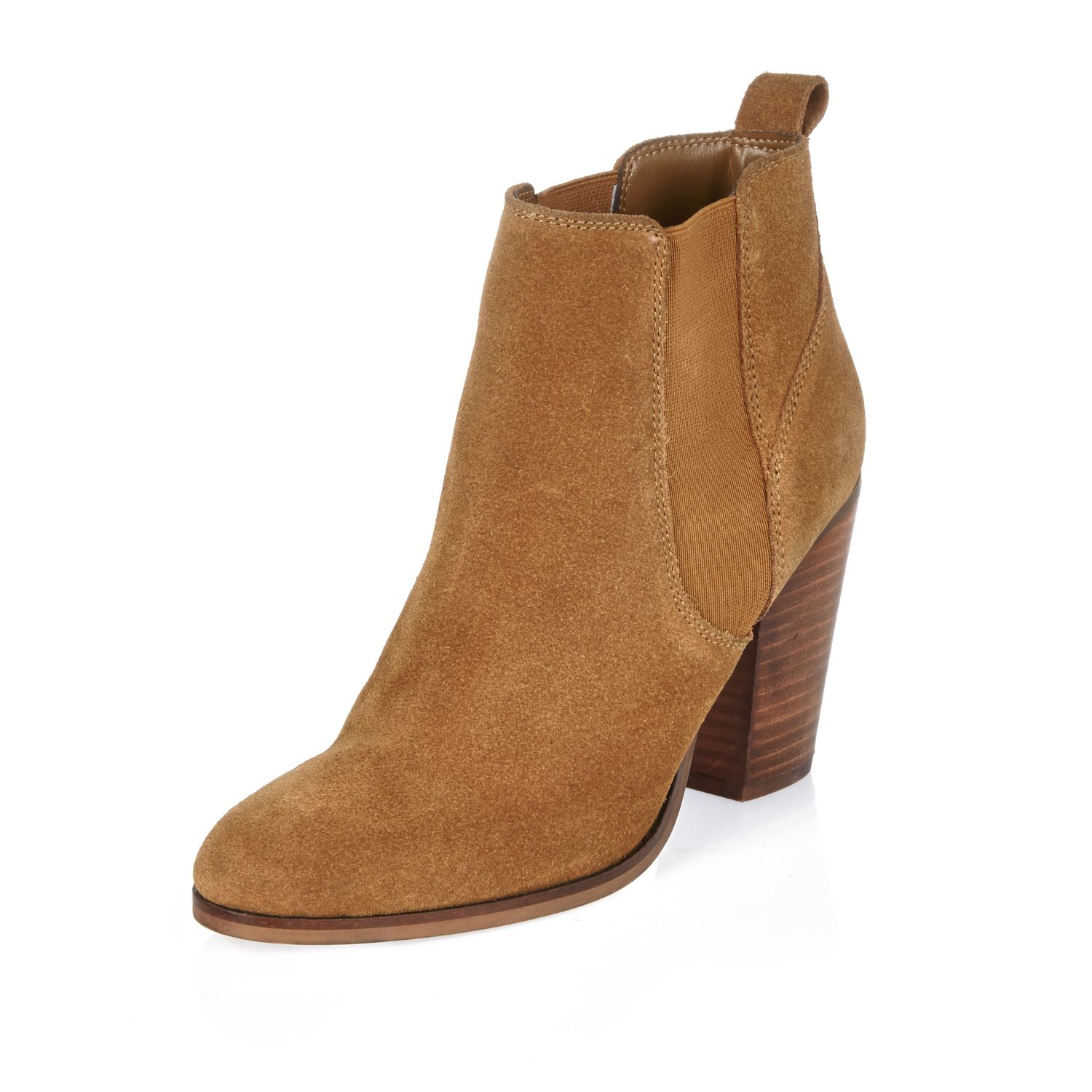 River island Tan Suede Heeled Ankle Boots in Brown | Lyst
