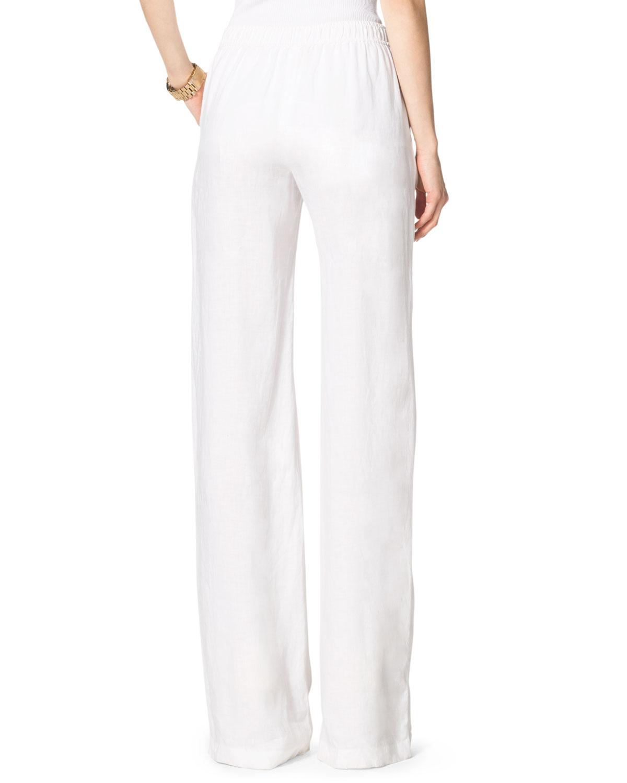 Michael kors Linen Wideleg Pants in White | Lyst