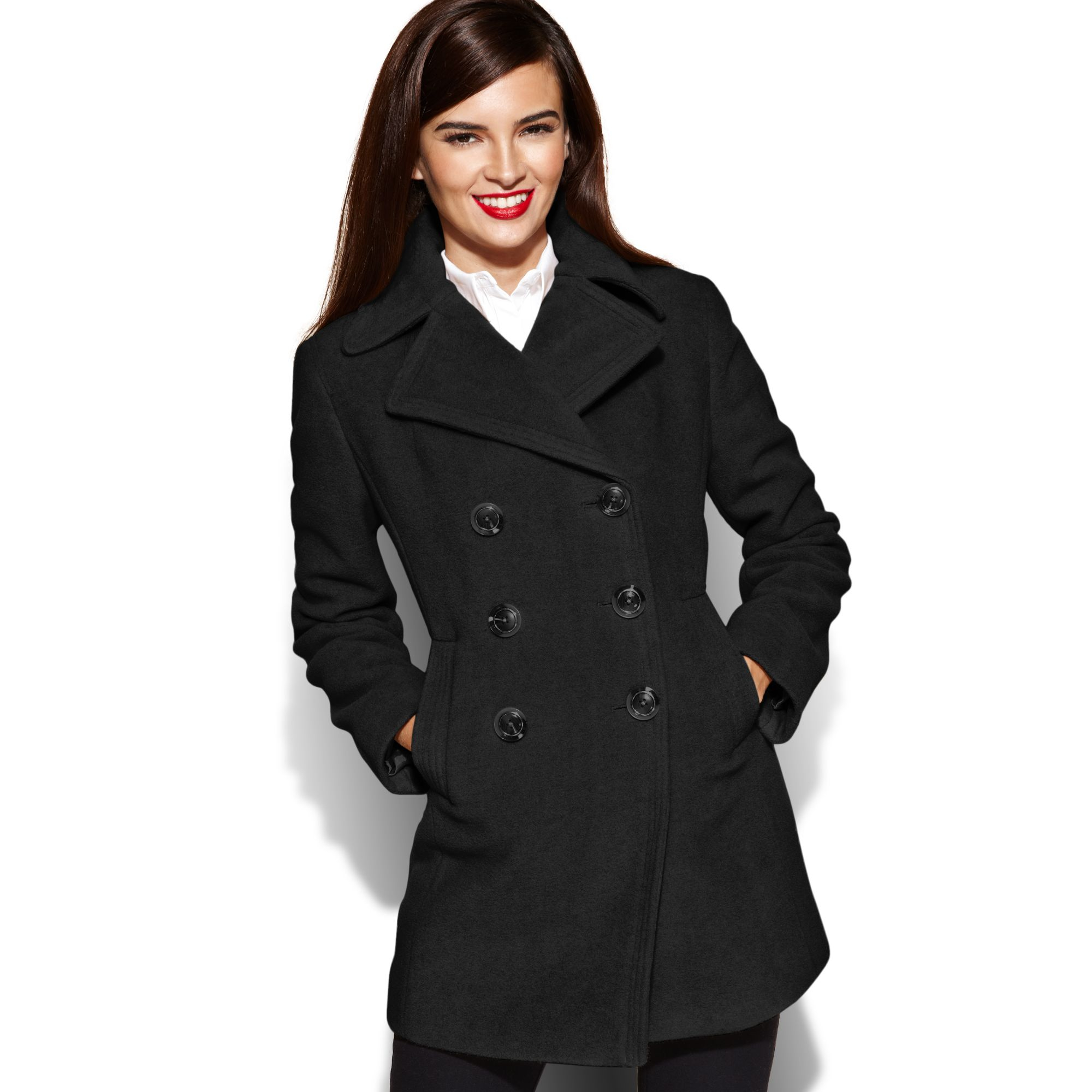 Kenneth cole reaction Double breasted Wool-blend Pea Coat in Black ...