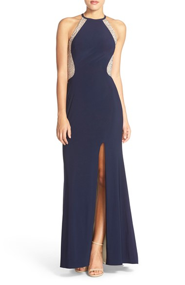 xscape beaded illusion mesh jersey gown in blue lyst