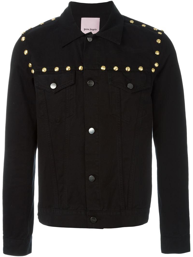 Palm Angels Studded Denim Jacket In Black For Men Save
