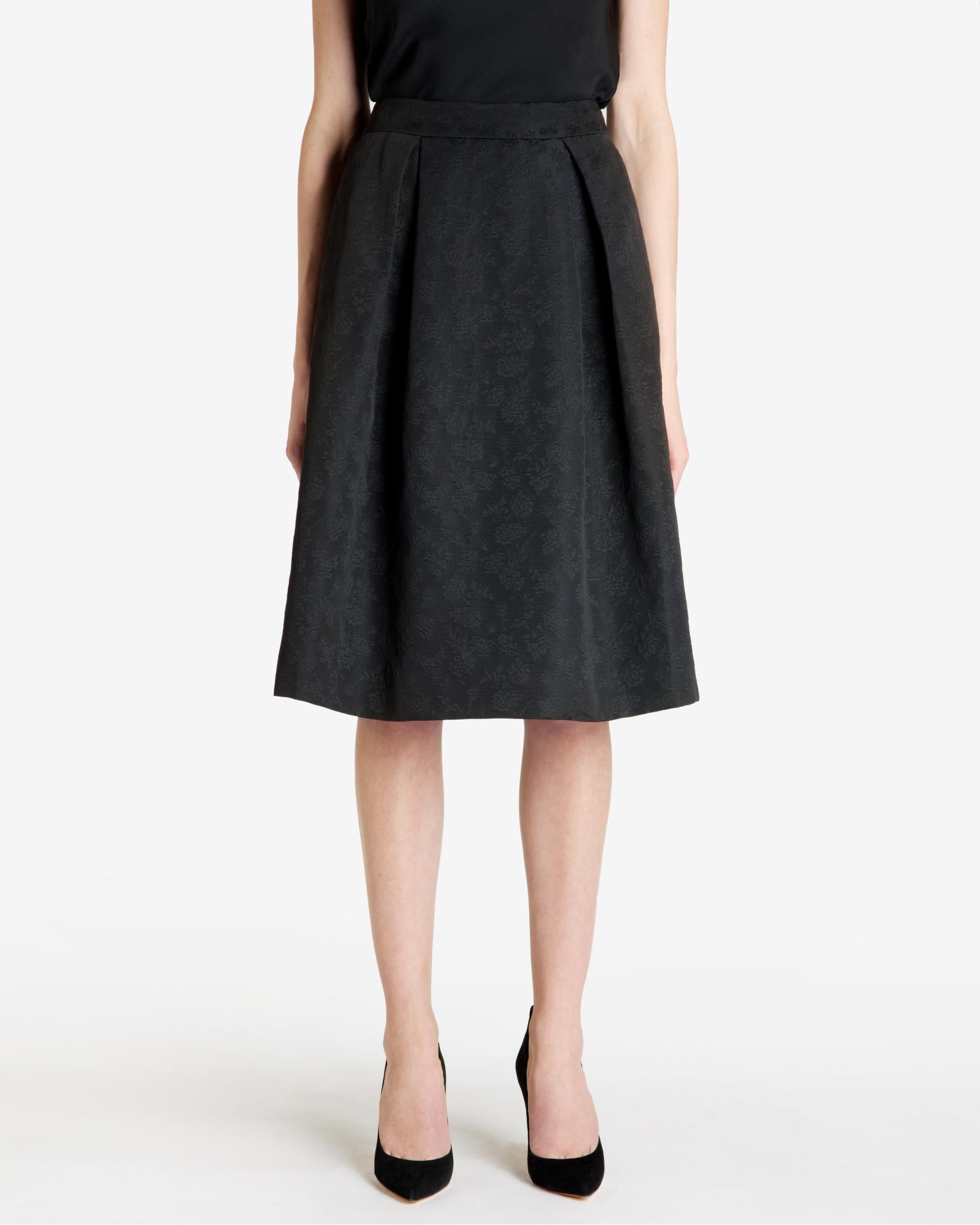 ted baker floral jacquard midi skirt in black lyst