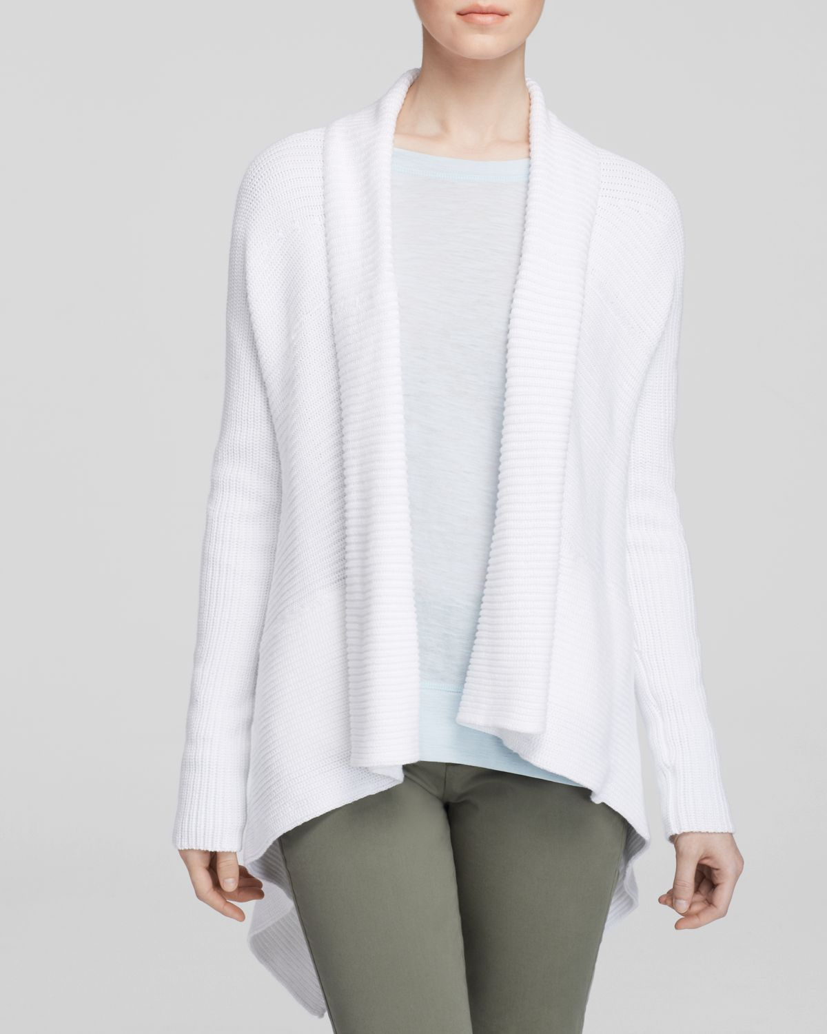 Vince Drape Front Cardigan In White