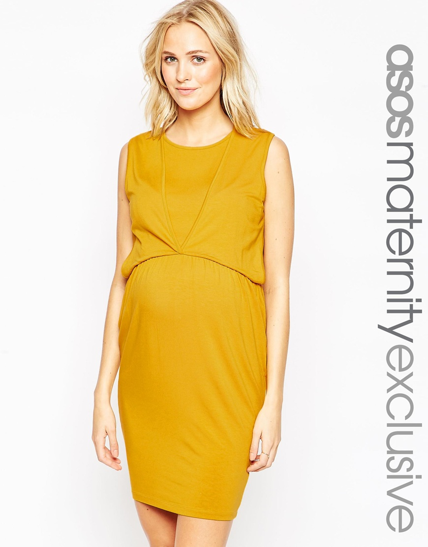 Asos maternity nursing tulip dress in yellow lyst gallery ombrellifo Choice Image