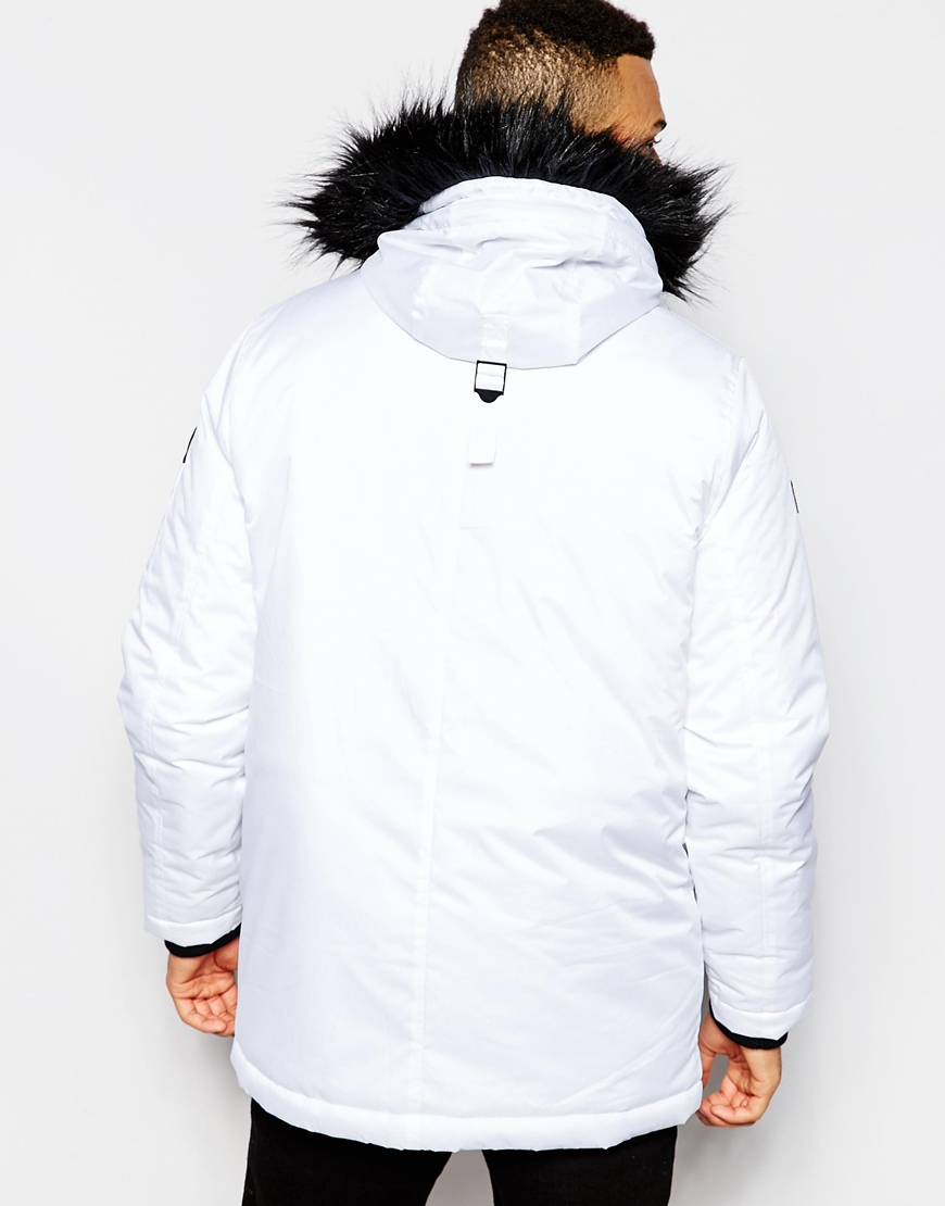 D-struct Coulton Faux Fur Trimmed Parka Jacket in White for Men | Lyst
