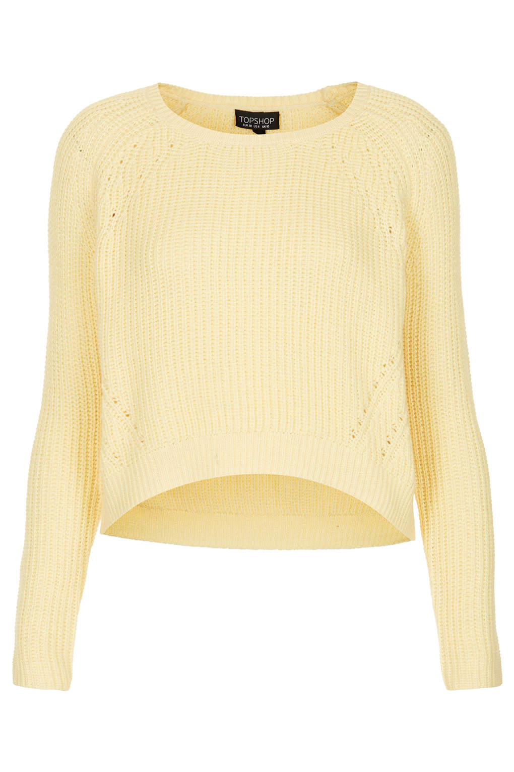 Lyst - TOPSHOP Knitted Curve Crop Jumper in Yellow c756c31c1