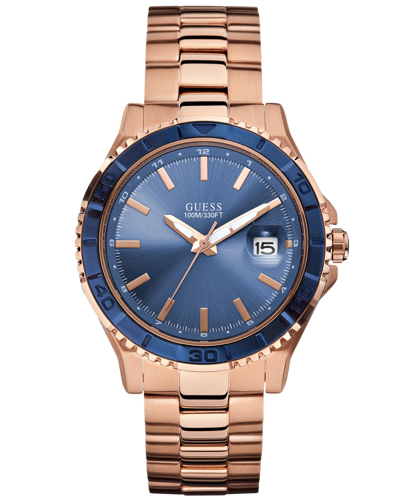 Guess Watch, Men'S Rose Gold-Tone Stainless Steel Bracelet ...
