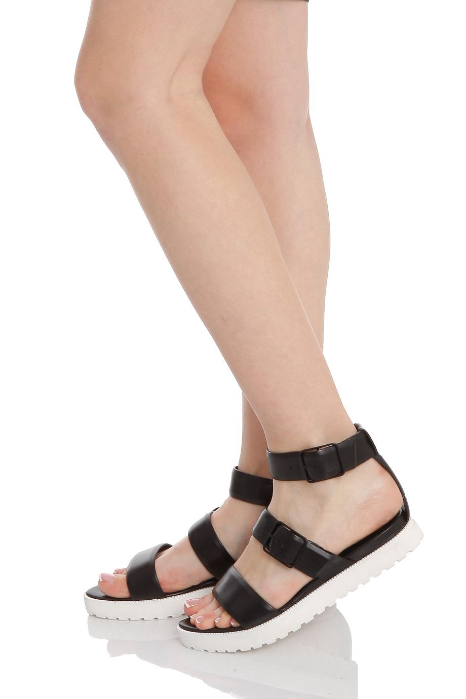 Lyst Alexander Wang Kira White Sole Flat Sandal In Black