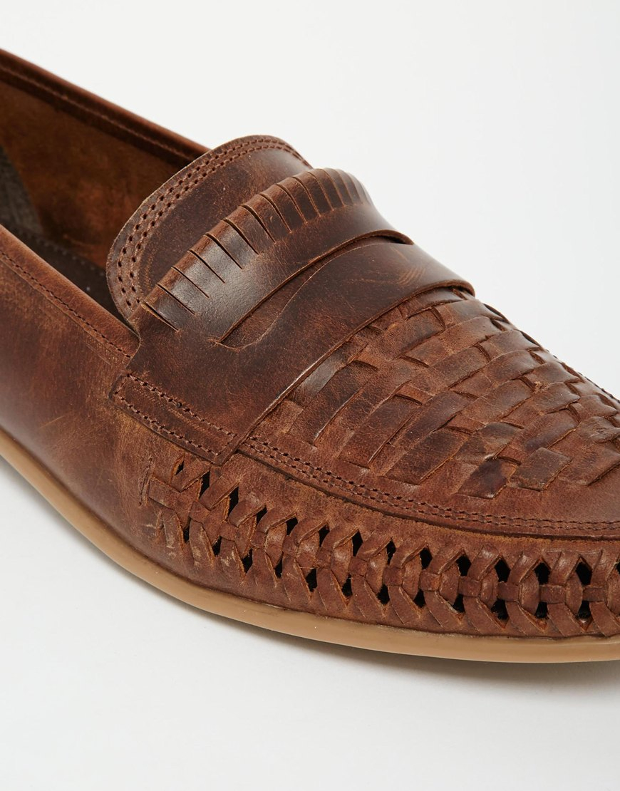 Mens Tan Woven Leather Shoes