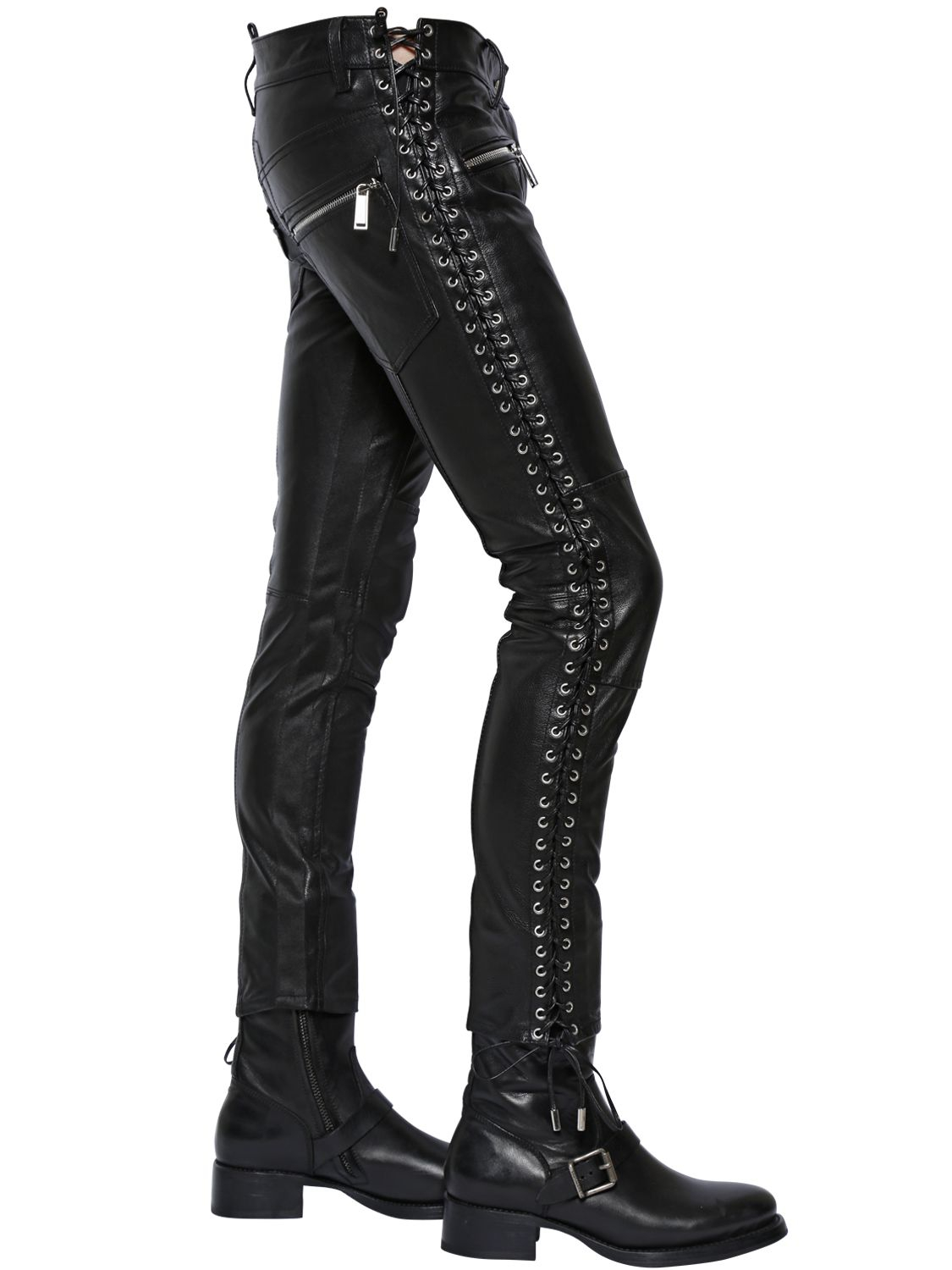 Heavy weight side lace leather pants, made of mm top grain, buffalo leather. Features include interwoven leather lacing on both legs, 5 pocket jean design, large leather belt loops and a nylon lining/5(16).