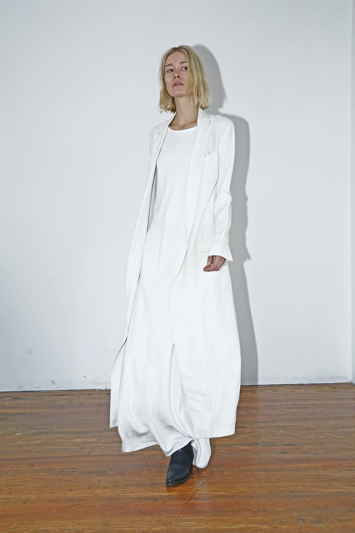 Assembly White Linen Long Collar Coat In White Lyst