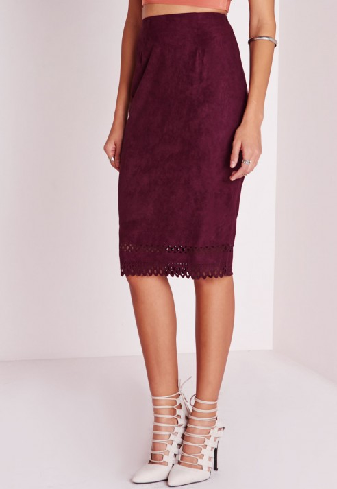Missguided Laser Cut Hem Faux Suede Midi Skirt Burgundy in Purple ...