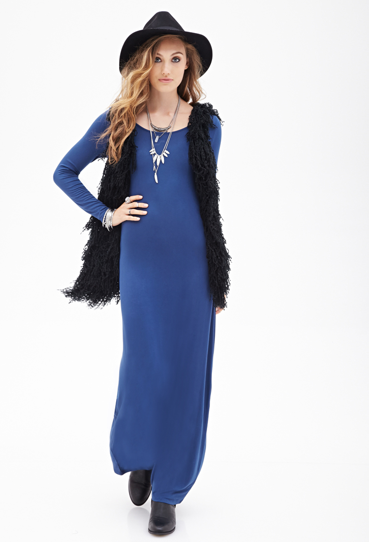 forever 21 longsleeved maxi dress in blue lyst