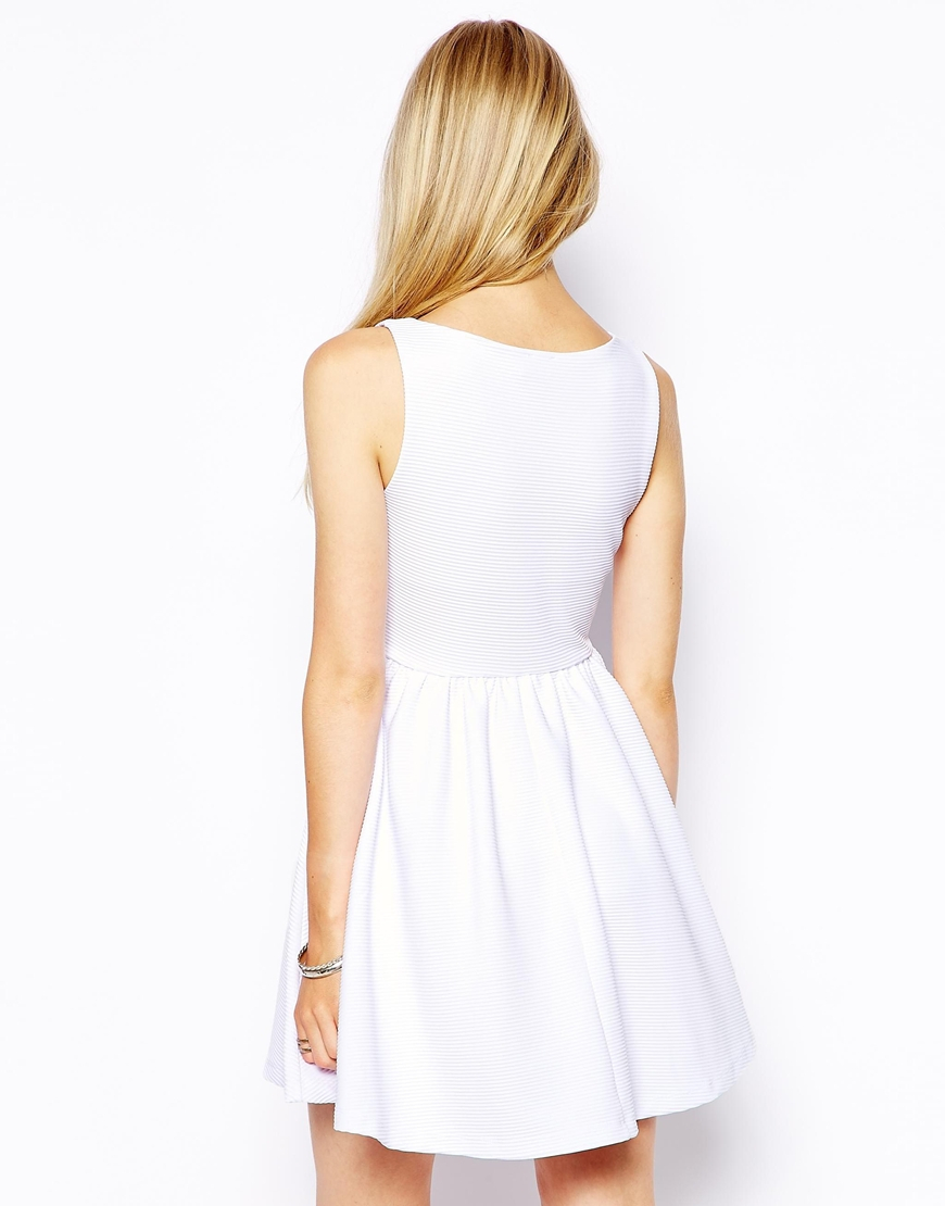 Lyst Asos Sleeveless Skater Dress In Structured Rib With