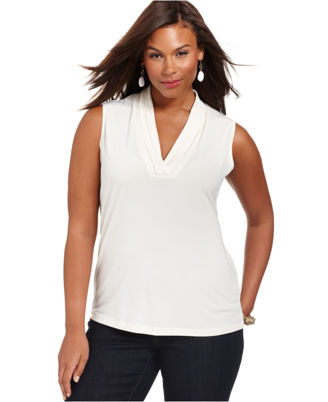 lyst jones new york collection plus size sleeveless v
