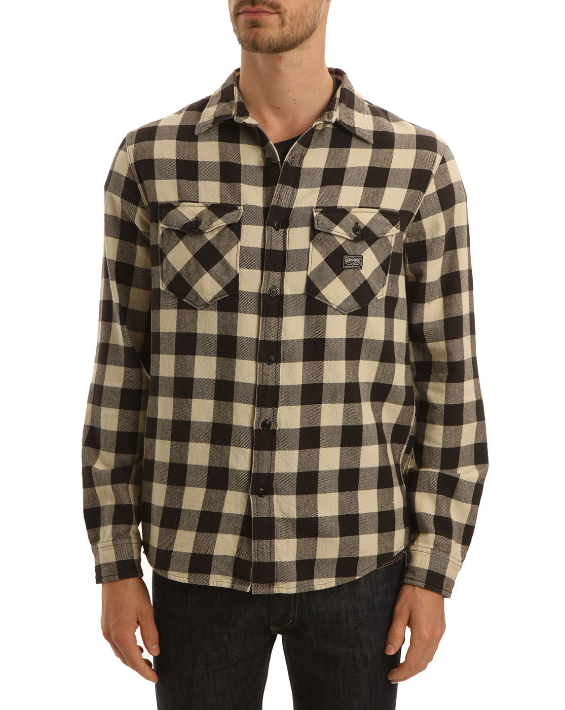 Denim supply ralph lauren ward plaid cotton shirt in for Brown and black plaid shirt