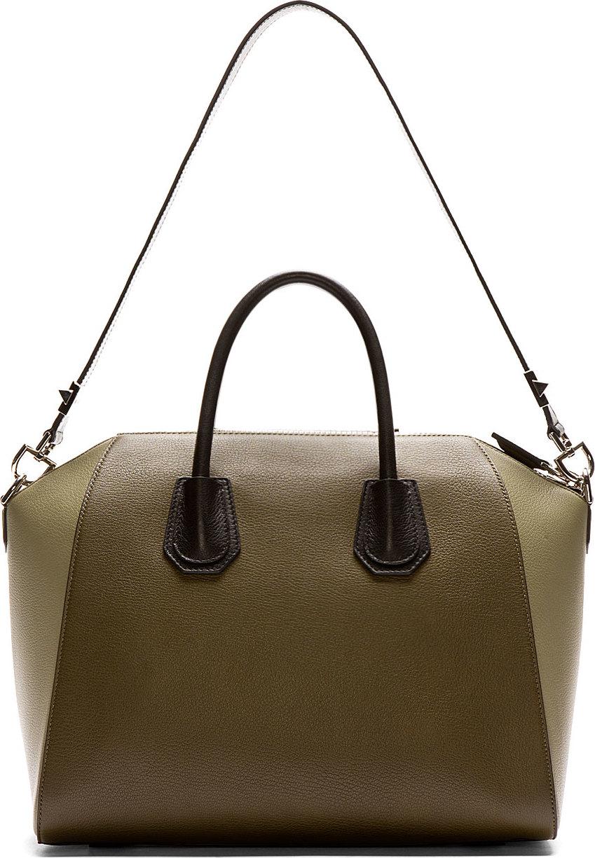 a7849e8ac056 Lyst - Givenchy Olive Leather Antigona Medium Duffle Bag in Green