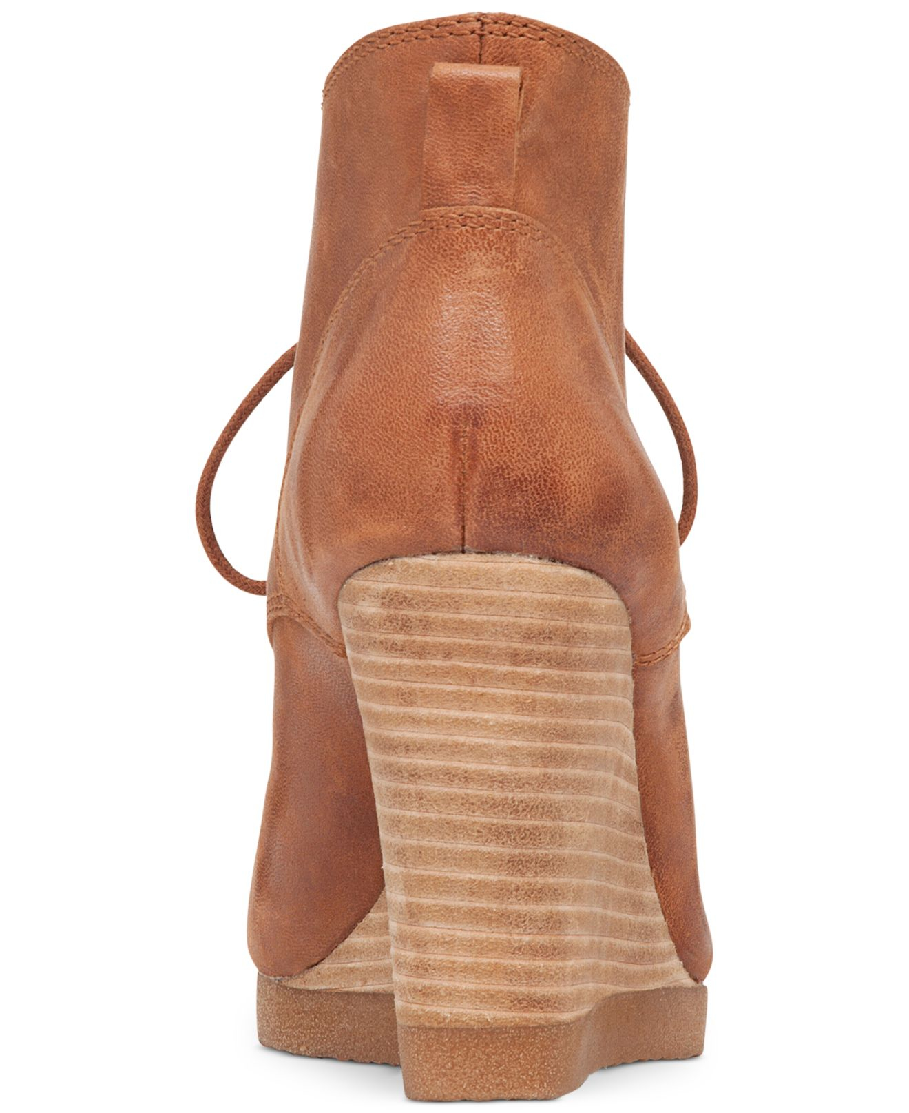 7b507cd9b3c Lyst - Lucky Brand Women s Taheeti Lace-up Wedge Booties in Brown