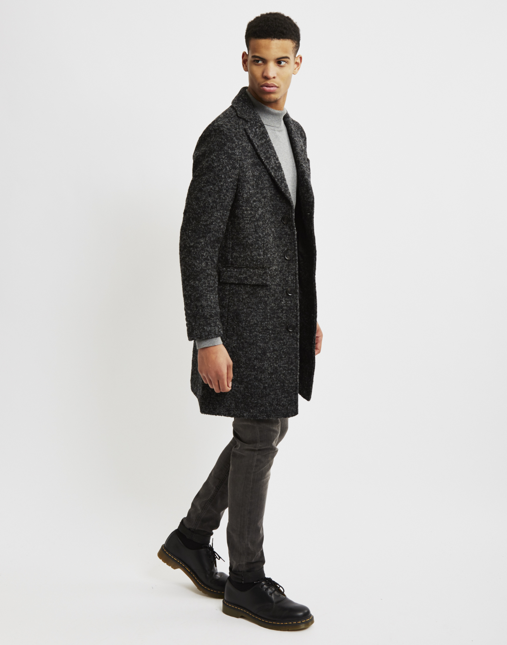Selected Naples Wool Coat in Black for Men | Lyst