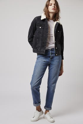 Topshop tall borg denim jacket in black lyst for Womens denim shirts topshop