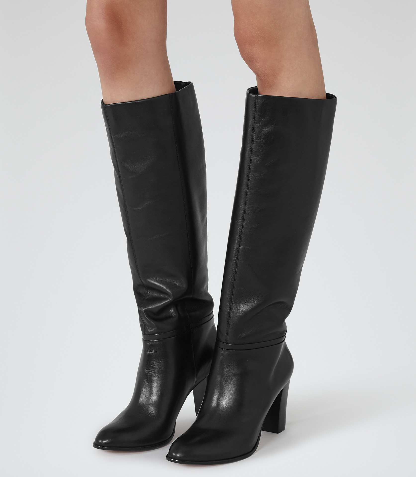 Lyst - Reiss Andi Knee-High Leather Boots In Black-4278