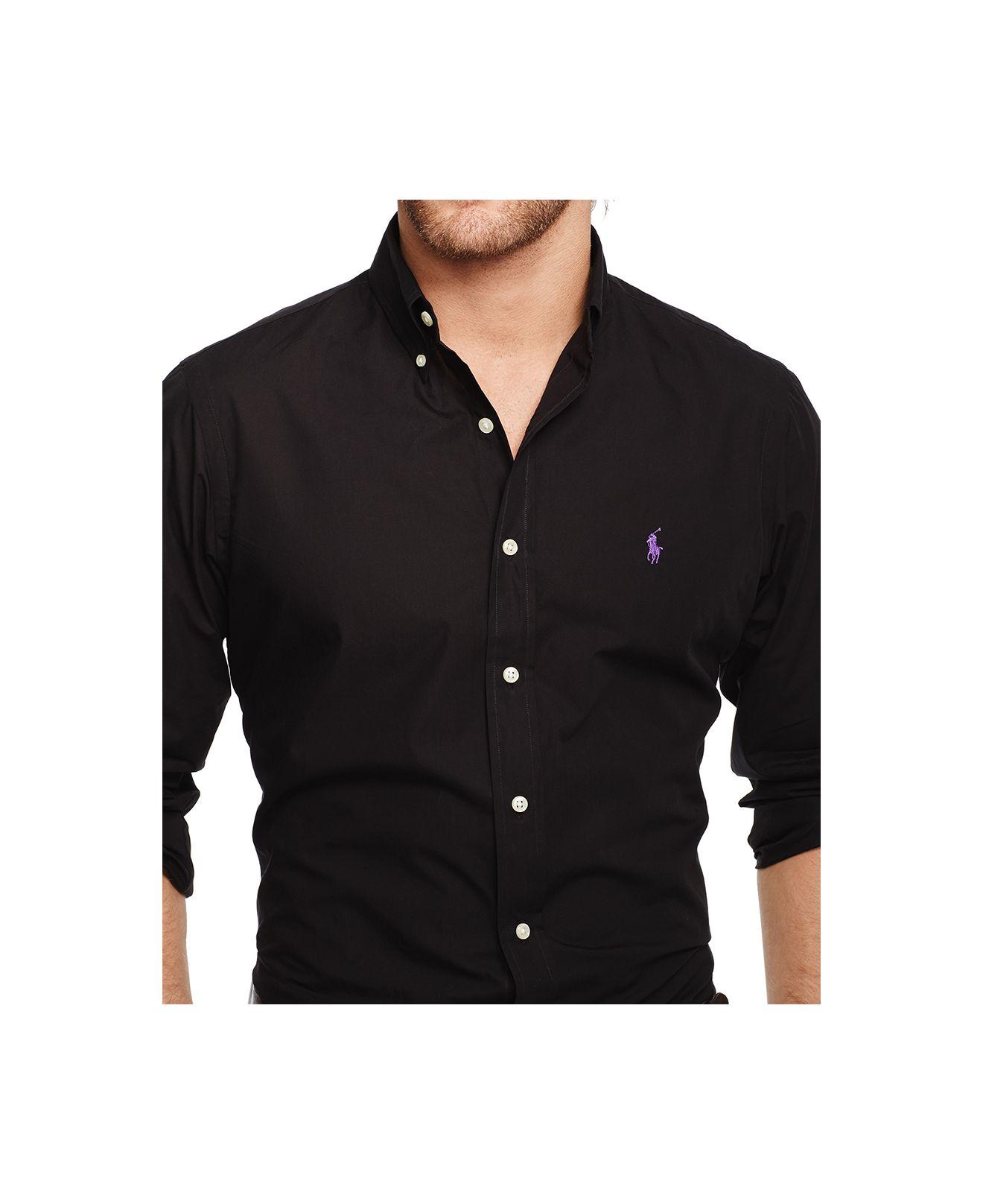4e2492f1f9b ... discount lyst polo ralph lauren mens slim fit poplin shirt in black for  men d16de 67748