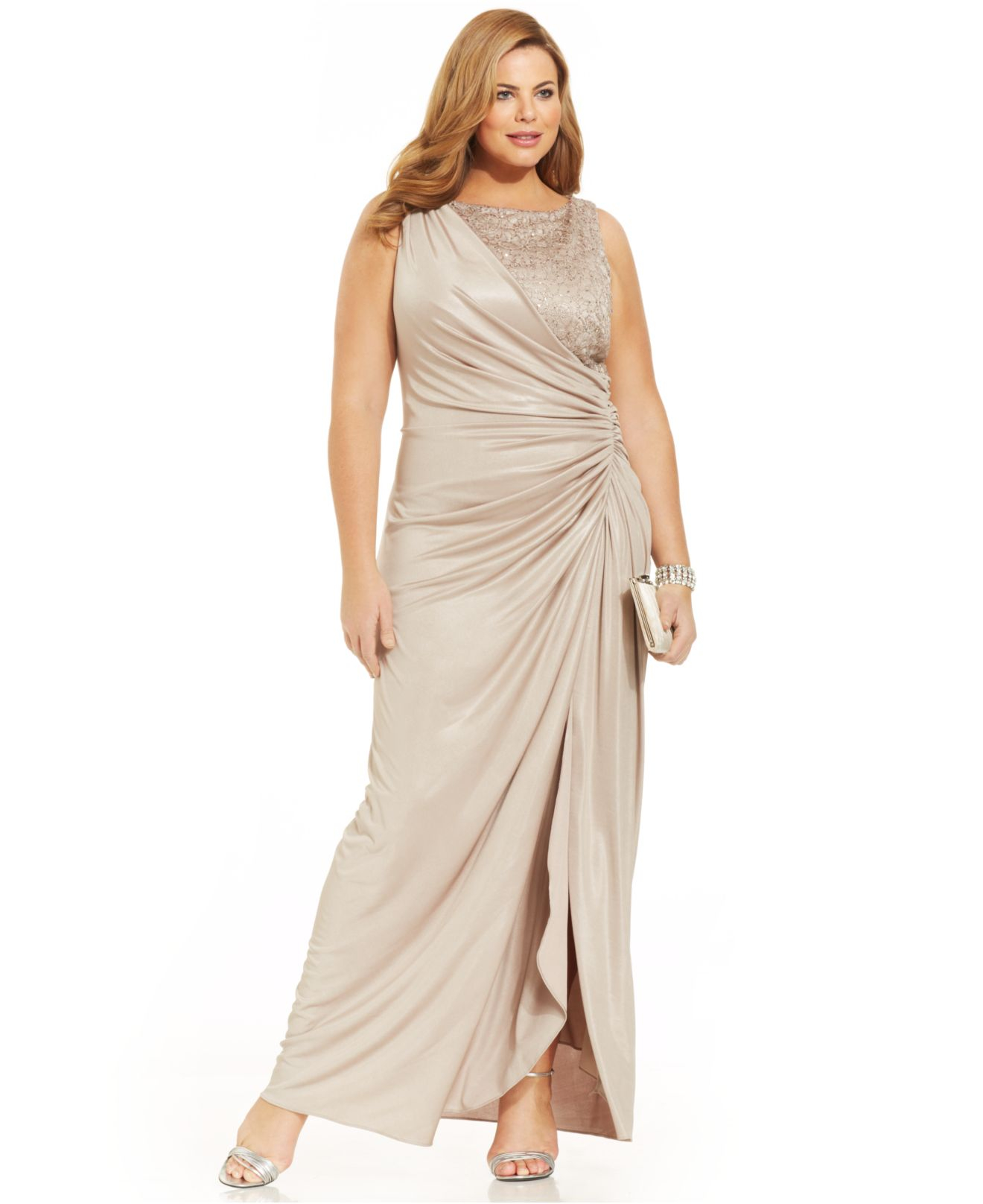 Lyst - Adrianna Papell Plus Size Draped Metallic Gown in Metallic