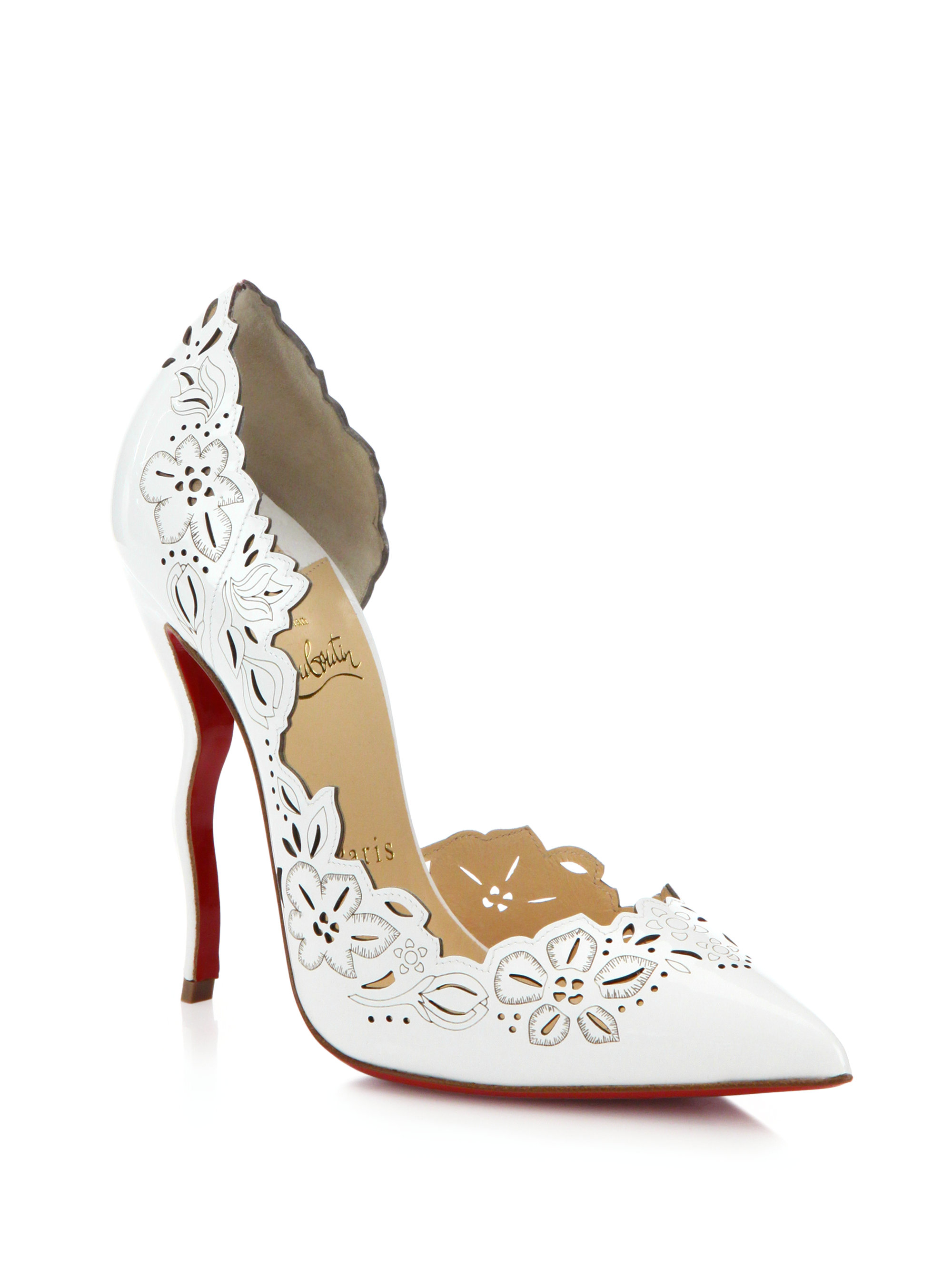 replica louboutin shoes - Christian louboutin Beloved Floral Cut-Out Leather Half D'Orsay ...