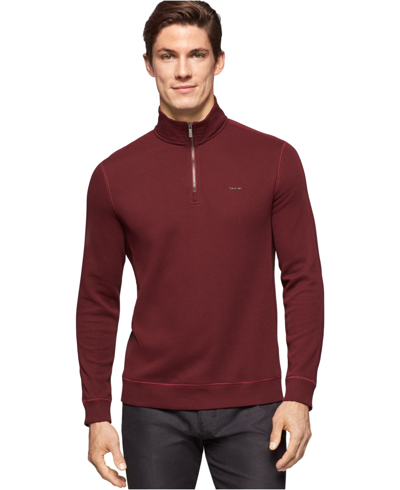 Calvin klein French-rib Quarter-zip Sweater in Purple for Men | Lyst