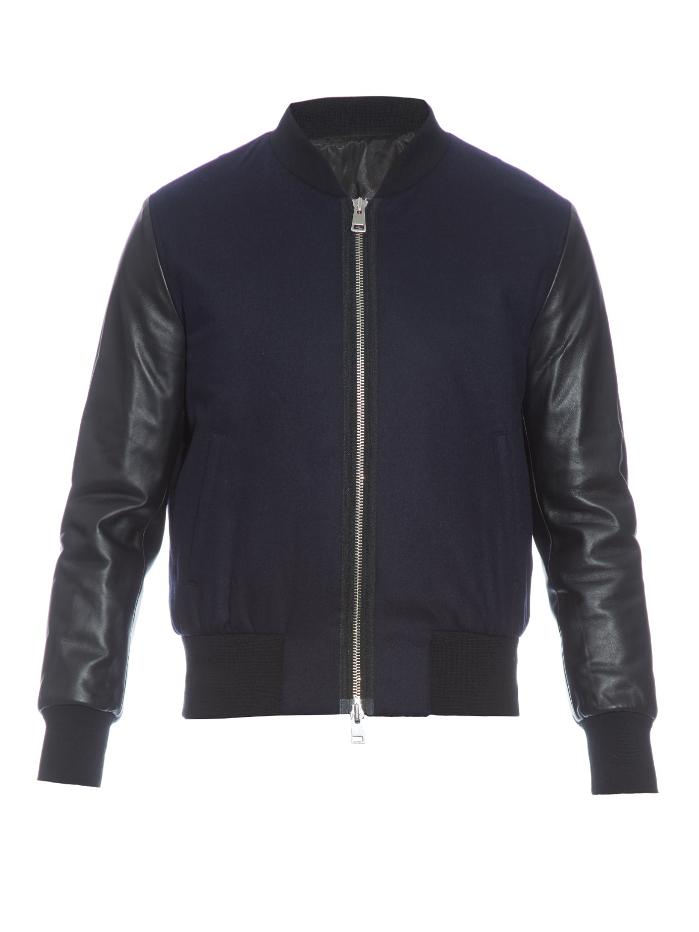 Lyst Ami Teddy Leather And Wool Blend Bomber Jacket In