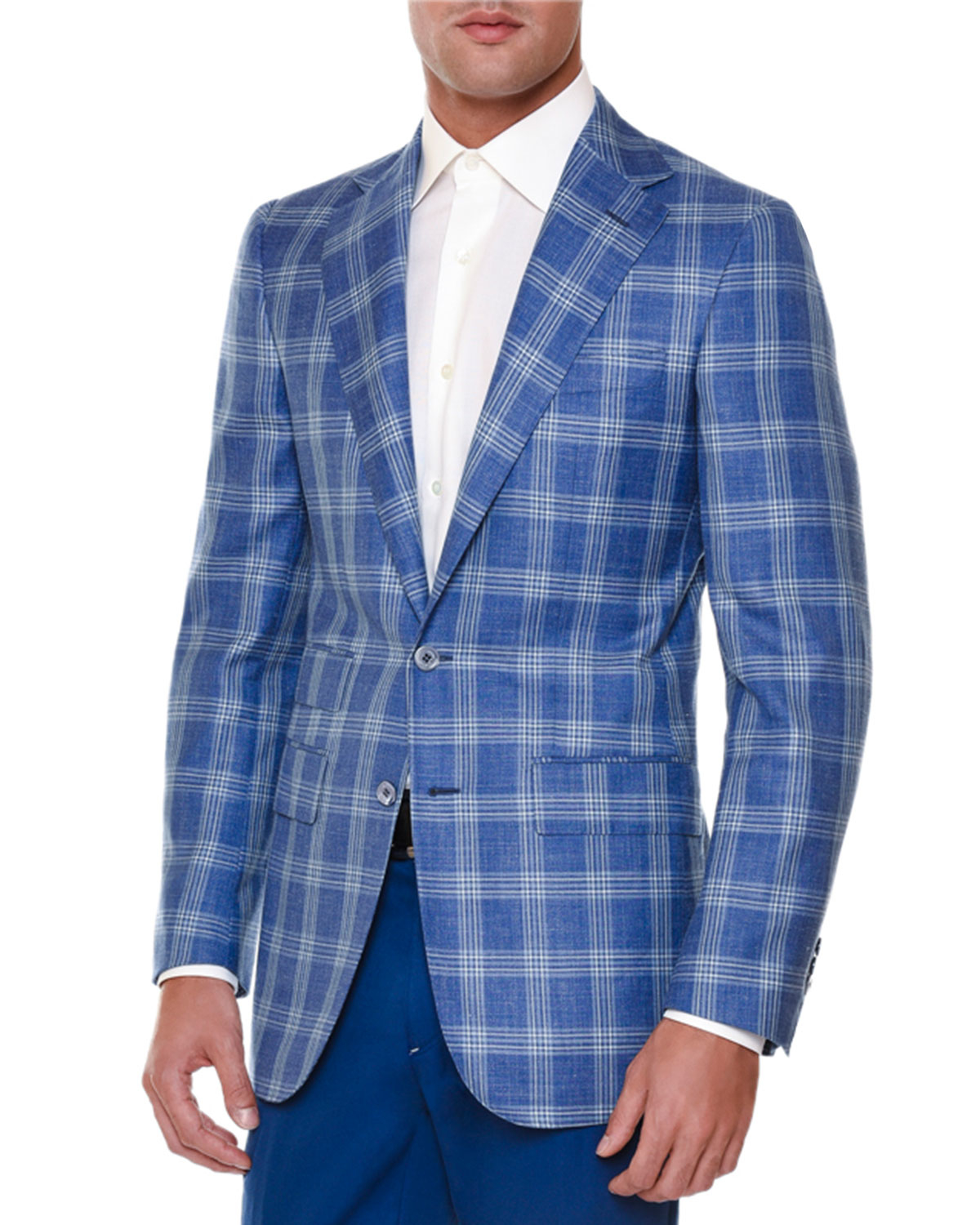 Stefano Ricci Windowpane Two button Sport Coat In Blue For Men Lyst
