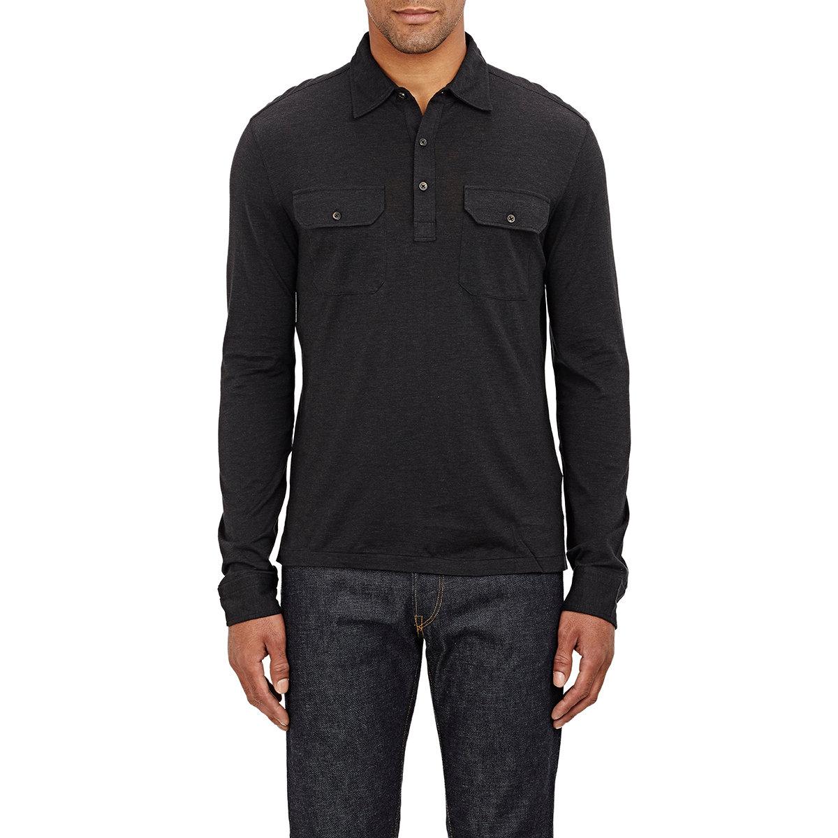 Ralph lauren black label jersey polo shirt in gray for men for Ralph lauren black label polo shirt
