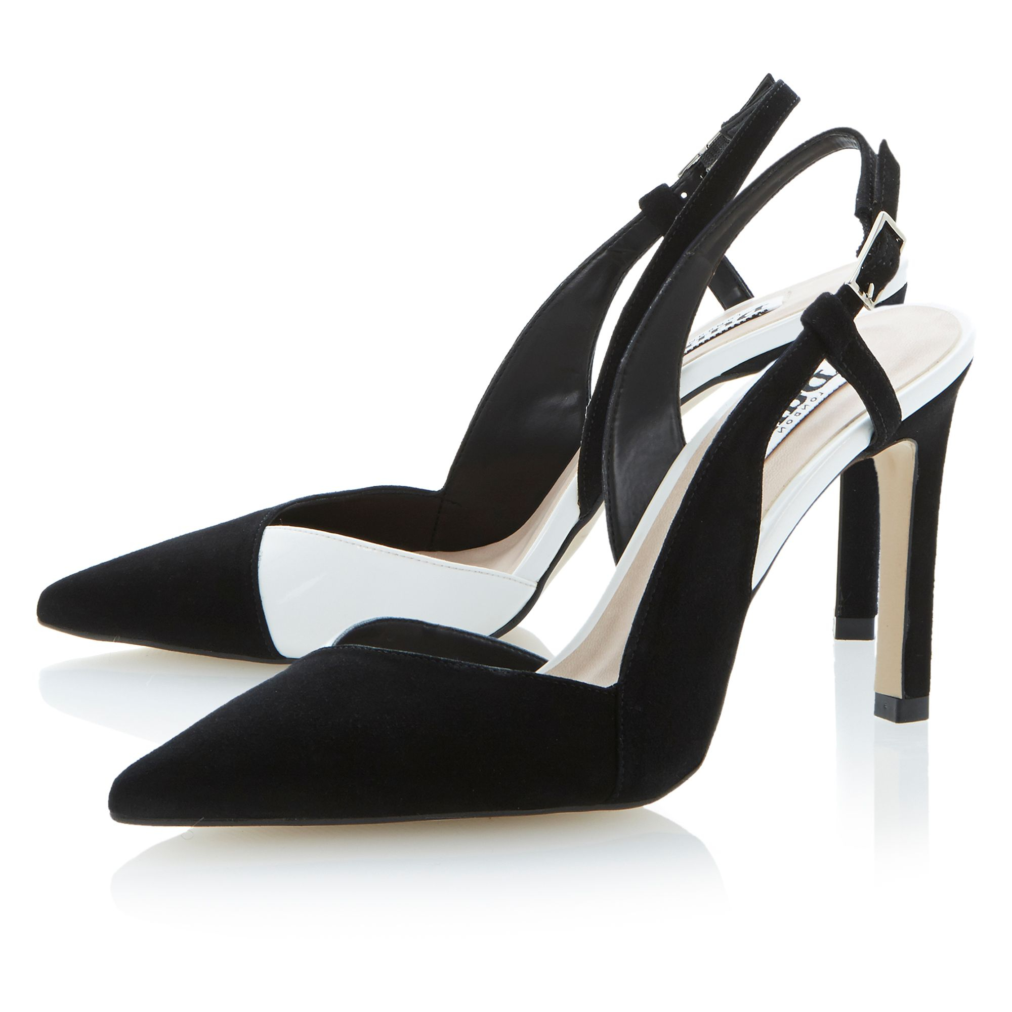 dune suede pointed toe stiletto court shoes in