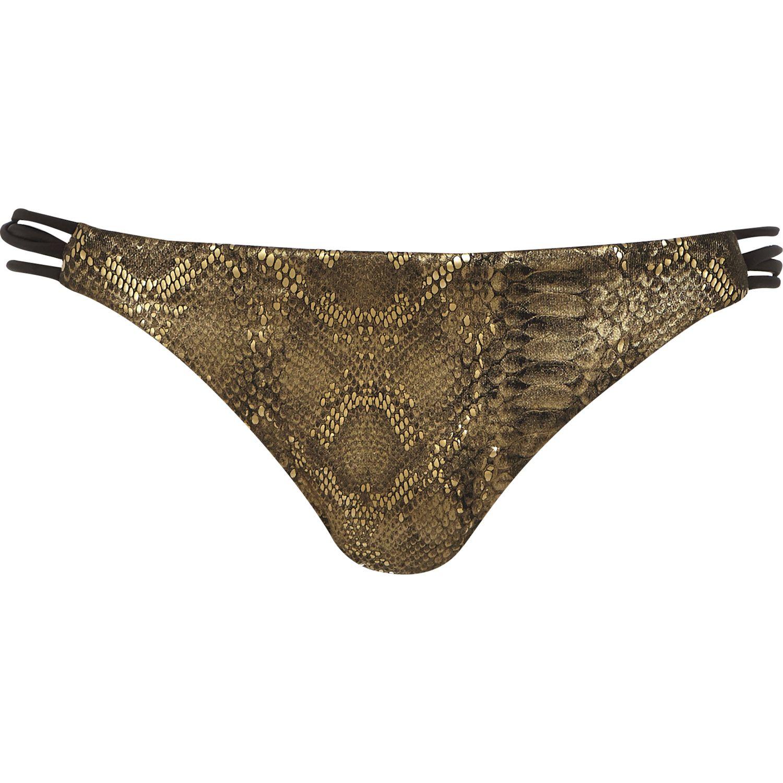 f6effa7f14a River Island Gold Metallic Cut-out Cami Bikini Top in Metallic - Lyst